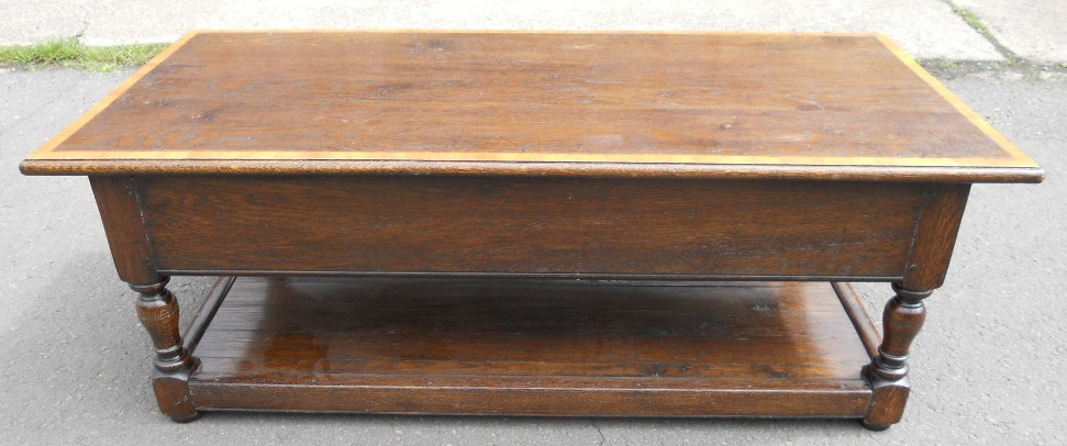 ... Large Heavy Oak, Two Drawer, Coffee Table   SOLD